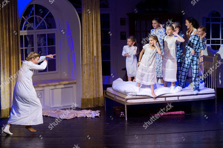 "Wietske van Tongeren Wietske van Tongeren, left, in the role of Maria Rainer performs with children during a dress rehearsal for the musical ""The Sound of Music"" by Richard Rogers in Salzburg, Austria. ""The Sound of Music,"" is playing for the first time in this haughty city of opera lovers"