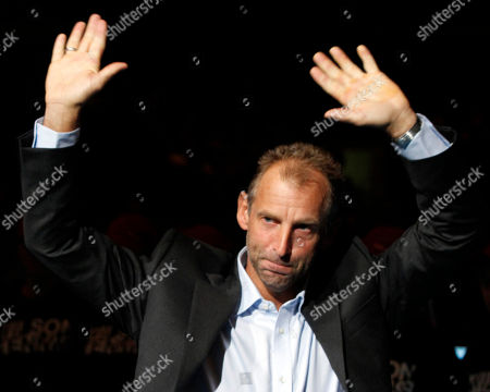 Thomas Muster Thomas Muster of Austria waves to the audience during a farewell ceremony after the final match at the Erste Bank Open tennis tournament in Vienna, Austria, . Former top ranked Muster ends his ATP tennis career at the age of 44