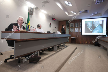 Andrew Jennings British author Andrew Jennings talks about corruption allegations involving FIFA and the Brazilian Football Confederation (CBF) during a meeting by Brazil's federal senate sports commission in Brasilia, Brazil, . The screen at right shows a projection of former FIFA President Joao Havelange, right, and current FIFA President Sepp Blatter