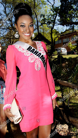 Miss Universe contestant, Miss Bahamas Anastagia Pierre poses for a picture during a visit to the nonprofit Catholic organization, Mercy Alliance, in Sao Paulo, Brazil, . Sao Paulo is hosting the Miss Universe 2011 pageant and will broadcast the contest on Sept. 12