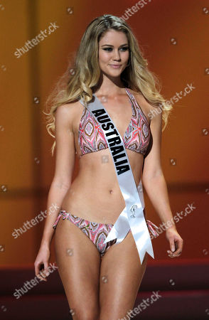 Miss Australia' Scherri-lee Biggs poses in her swimsuit during the Miss Universe preliminary competition event in Sao Paulo, Brazil, . Sao Paulo is hosting the Miss Universe 2011 pageant and will broadcast the contest on Sept. 12