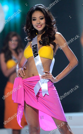 Stock Picture of Miss China Luo Zilin competes at the Miss Universe pageant in Sao Paulo, Brazil