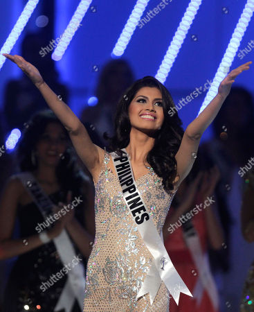Miss Philippines Shamcey Supsup gestures during the Miss Universe pageant in Sao Paulo, Brazil, . Supsup was named third runner up
