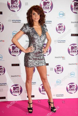 Jade Thompson arrives at the MTV European Music Awards 2011, in Belfast, Northern Ireland