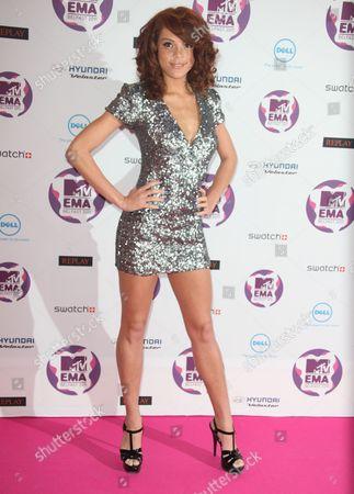 Jade Thompson Model Jade Thompson poses on the red carpet at the MTV European Music Awards 2011, in Belfast, Northern Ireland