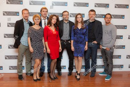 Lucia Siposova, Gabriela Marcinkova, Dinara Drukarova, Fernando Meirelles, Vladimir Vdovichenkov, Moritz Bleibtreu, Andrew Eaton, Peter Morgan British Producer Andrew Eaton, from left to right, Russian actors Dinara Drukarova and Vladimir Vdovichenkov, Slovakian actress Lucia Siposova, Brazilian Director Fernando Meirelles, Slovakian actress Gabriela Marcinkova, British writer Peter Morgan and German actor Moritz Bleibtreu, pose during the photocall for 360, the opening film for the London Film Festival, at a central London Cinema