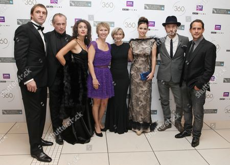 Jude Law, Lucia Siposova, Gabriela Marcinkova, Dinara Drukarova, Vladimir Vdovichenkov, Moritz Bleibtreu, Johannes Krisch, Sandra Hebron From left, Russian actor Vladimir Vdovichenkov, Austrian actor Johannes Krisch, Slovakian actress Lucia Siposova, Russian actress Dinara Drukarova, Artistic Director of the London Film Festival Sandra Hebron, Slovakian actress Gabriela Marcinkova, British actor Jude Law and German actor Moritz Bleibtreu arrive for the European Premiere of 360, the opening film for the London Film Festival, at a central London Cinema