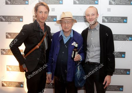 Jonas Mekas, Benn Northover, Sebastian Mekas Lithuanian Director Jonas Mekas, centre, stands between actors Benn Northover, left, and Sebastian Mekas, as they arrive for the official BFI London Film Festival screening of Sleepless Nights Stories, at a central London Cinema