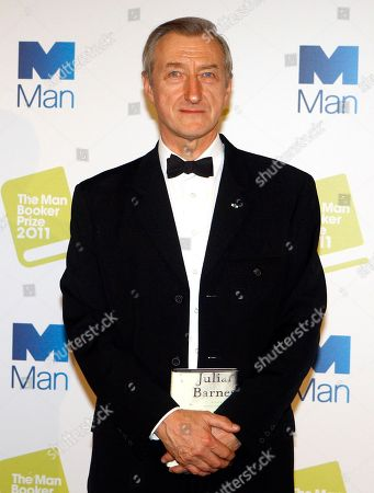 Julian Barnes British author Julian Barnes with his book 'The Sense of an Ending', winner of the 2011 Man Booker Prize for fiction poses at a photocall in London, . The Man Booker Prize is an annual literary prize awarded for the best novel written in the English language