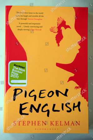 A copy of the 'Pigeon English' novel by Stephen Kelman, shortlisted for the 2011 Man Booker Prize for fiction, is photographed following a news conference announcing the 2011 Man Booker Prize shortlisted novels, in London, Tuesday, Sept, 6, 2011. The winner of the prestigious literary award who will receive 50,000 British pounds, will be announced on