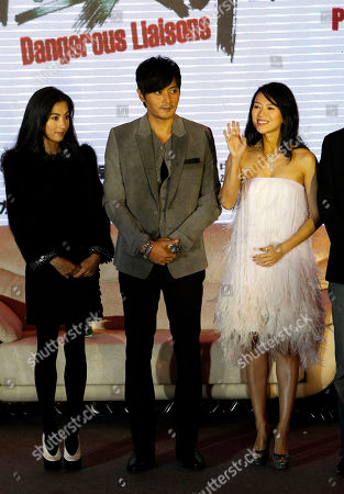 Cecilia Cheung, Jang Dong-gun, Zhang Ziyi From left, Hong Kong actress Cecilia Cheung, South Korean actor Jang Dong-gun and Chinese actress Zhang Ziyi, attend a press conference marking the start of filming for the movie Dangerous Liaison by South Korean director Hur Jin-ho, unseen at a hotel in Beijing, China