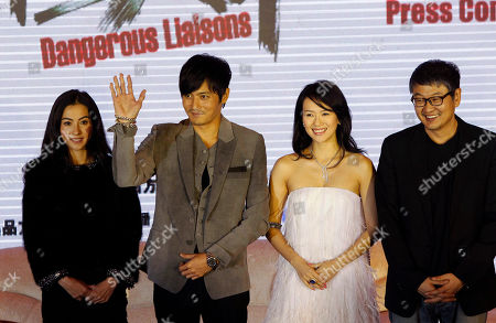 Cecilia Cheung, Jang Dong-gun, Zhang Ziyi, Hur Jin-ho From left, Hong Kong actress Cecilia Cheung, South Korean actor Jang Dong-gun and Chinese actress Zhang Ziyi, attend a press conference marking the start of filming for the movie Dangerous Liaison by South Korean director Hur Jin-ho, right at a hotel in Beijing, China