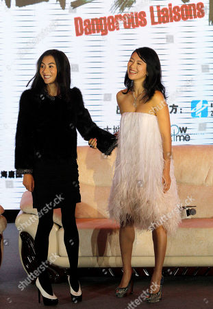 Cecilia Cheung Zhang Ziyi Hong Kong actress Cecilia Cheung, left, and Chinese actress Zhang Ziyi, right, pose for photos at a press conference marking the start of filming for the movie Dangerous Liaison by South Korean director Hur Jin-ho, unseen at a hotel in Beijing, China