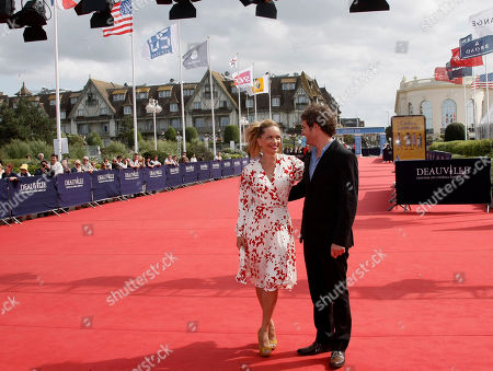 """Victoria Mahoney, Jason Clarke U.S Director Victoria Mahoney and U.S Actor Jason Clarke arrive for the screening of their film"""" Yelling to the Sky"""", at the 37th American Film Festival in Deauville, Normandy, France"""