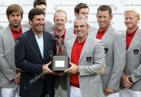 Paul McGinley, Jose Maria Olazabal Captain of Britain & Ireland, Paul McGinley, right, holds the trophy with Jose Maria Olazabal, left, captain of the European Ryder Cup in 2012, at Saint Nom La Breteche, west of Paris, . Britain & Ireland held off a strong fightback from Continental Europe in Sunday's singles to retain the Vivendi Seve Trophy 15½ to 12½. Spanish golf great Seve Ballesteros created the event, a biennial competition, to help Europeans get more match-play experience outside the Ryder Cup