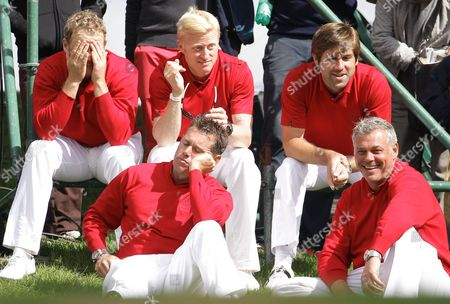 Simon Dyson, Robert Rock, Lee Westwood, Darren Clarke From left, top, Jamie Donaldson, Simon Dyson, Robert Rock and, front, Lee Westwood, left, and Darren Clarke are seen at the Vivendi Seve Trophy at Saint Nom La Breteche, west of Paris, Sunday, Sept.18, 2011. Britain & Ireland held off a strong fightback from Continental Europe in Sunday's singles to retain the Vivendi Seve Trophy 15 1/2 to 12 1/2. Spanish golf great Seve Ballesteros created the event, a biennial competition, to help Europeans get more match-play experience outside the Ryder Cup