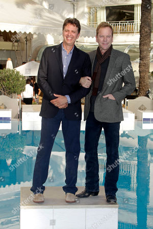 Kiefer Sutherland, Tim Kring English-born Canadian actor, producer and director Kiefer Sutherland, right, and American screenwriter and television producer Tim Kring pose during the 27th MIPCOM (International Film and Programme Market for Tv, Video,Cable and Satellite) in Cannes, southeastern France