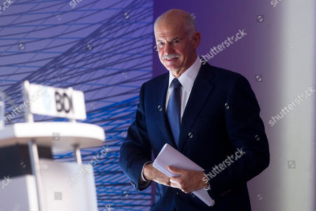 Georgios Papandreou Greek Prime Minister Georgios Papandreou arrives to deliver a speech at the annual conference of the Federation of German Industry (BDI) in Berlin, central Germany, . Papandreou will meet German Chancellor Angela Merkel later in the evening