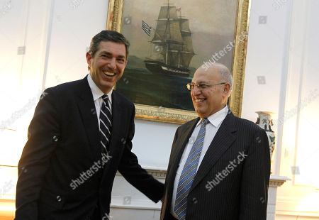 Senior Palestinian envoy Nabeel Shaath, right, greets Greek Foreign Minister Stavros Lambrinidis, in Athens . Greece has traditional close ties with the Palestinian authority but has recently upgraded relations with Israel