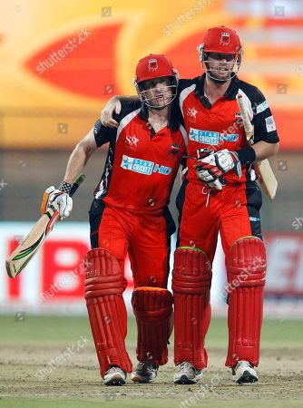 Daniel Christian, Daniel Harris South Australia batsman Daniel Christian, right, greets teammate Daniel Harris on scoring a century during the Champions League Twenty20 cricket match against Royal Challengers Bangalore in Bangalore, India