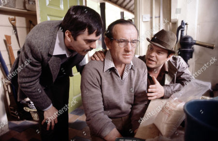 Keith Drinkel ,Colin Blakely and Warren Clarkel in 'Tales Of The Unexpected' - 1981 Episode:'Never Speak Ill Of The Dead'