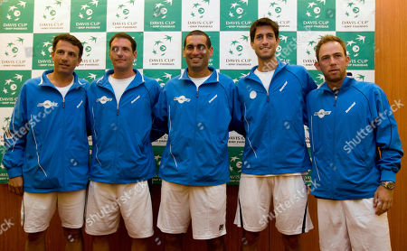 Eyal Ran, Jonathan Erlich, Andy Ram, Amir Weintraub, Dudi Sela From left, Israel's Eyal Ran, Jonathan Erlich, Andy Ram, Amir Weintraub and Dudi Sela, pose for photographers ahead of the Davis Cup World Group play-off Tennis matches against Canada in Herzeliya, Israel, . Israel will play against Canada from Sept. 16 to 18