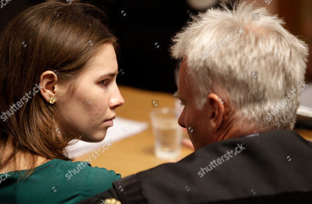 Amanda Knox Amanda Knox, left, talks to her lawyer Carlo Dalla Vedova prior to an appeal hearing, at the Perugia court, central Italy, . The 24-year-old Knox looked tense as she entered a packed courthouse. She is expected to address the court in a final plea of her innocence. A verdict is expected later Monday