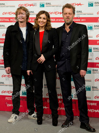 "Stock Picture of From left, Norwegian actor Kristoffer Joner, Sweden's acteress Noomi Rapace and Norwegian director Pal Sletaune pose during the photo call of the movie ""Babycall"", at the 6th edition of the Rome International Film Festival in Rome"