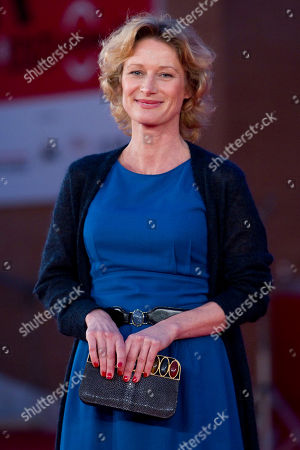 """Belgian actress Astrid Whettnall poses on the red carpet of the movie """"Little Glory"""", at the 6th edition of the Rome International Film Festival in Rome"""