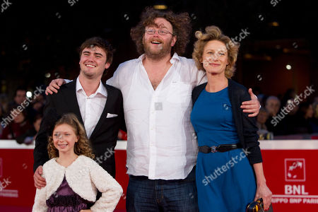 "Cameron Bright, Astrid Whettnall, Vincent Lannoo, Isabella Blake Thomas From top left, Canadian actor Cameron Bright, Belgian actress Astrid Whettnall, director Vincent Lannoo and British actress Isabella Blake Thomas, bottom left, pose on the red carpet of the movie ""Little Glory"", at the 6th edition of the Rome International Film Festival in Rome"
