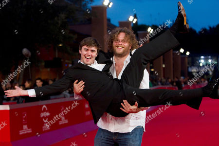 "Vincent Lannoo, Cameron Bright Belgian director Vincent Lannoo, right, jokes with Canadian actor Cameron Bright on the red carpet of the movie ""Little Glory"", at the 6th edition of the Rome International Film Festival in Rome"