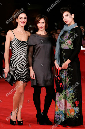 Stock Image of Valentina Carnelutti, Teresa Saponangelo, Aylin Prandi From left, actresses Valentina Carnelutti, Teresa Saponangelo and Aylin Prandi pose on the red carpet during the 6th edition of the Rome International Film Festival in Rome