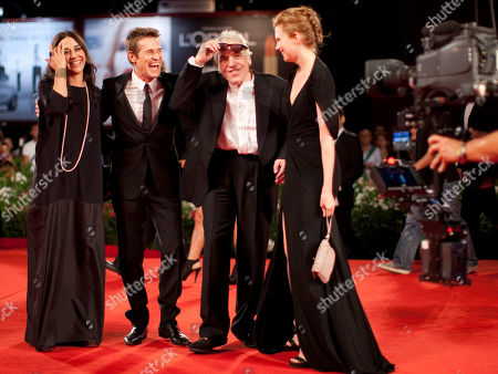 Willem Dafoe, Shanyn Leigh, Abel Ferrara, Giada Colagrande From left, Giada Colagrande, actor Willem Dafoe, director Abel Ferrara and actress Shanyn Leigh arrive for the screening of the movie 4:44 Last Day On Earth at the 68th edition of the Venice Film Festival in Venice, Italy