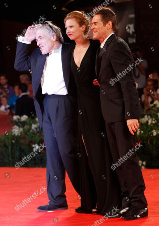 Willem Dafoe, Shanyn Leigh, Abel Ferrara From left, director Abel Ferrara, actress Shanyn Leigh, and actor Willem Dafoe arrive for the screening of the movie 4:44 Last Day On Earth at the 68th edition of the Venice Film Festival in Venice, Italy