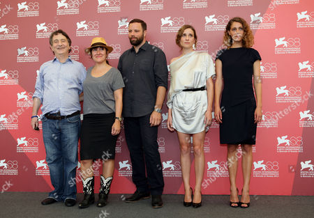 Johnny Vekris, Athina Rachel Tsangari, Yorgos Lanthimos, Aggeliki Papoulia, Ariane Labed From left, actor Johnny Vekris, producer Athina Rachel Tsangari, director Yorgos Lanthimos, and actresses Aggeliki Papoulia and Ariane Labed pose during the photo call for the movie Alpis (Alps) at the 68th edition of the Venice Film Festival in Venice, Italy