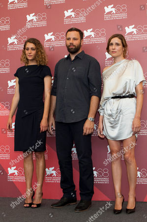 Yorgos Lanthimos, Aggeliki Papoulia, Ariane Labed From left, actress Ariane Labed, director Yorgos Lanthimos, and actress Aggeliki Papoulia pose during the photo call for the movie Alpis (Alps) at the 68th edition of the Venice Film Festival in Venice, Italy