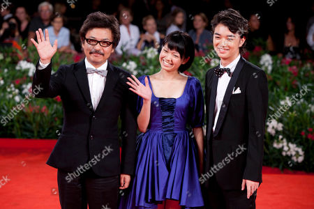 Shion Sono, Fumi Nikaido, Shota Sometan From left director Shion Sono, actress Fumi Nikaido and actor Shota Sometani arrive for the premiere of the film Himizu at the 68th edition of the Venice Film Festival in Venice, Italy