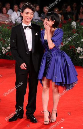 Shota Sometan, Fumi Nikaido Actor Shota Sometan and actress Fumi Nikaido pose on the red carpet for the premiere of the film 'Himizu' at the 68th edition of the Venice Film Festival in Venice, Italy