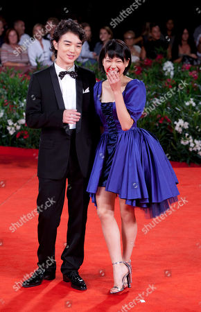 Fumi Nikaido, Shota Sometan Actress Fumi Nikaido, right, and actor Shota Sometani arrive for the premiere of the film Himizu at the 68th edition of the Venice Film Festival in Venice, Italy