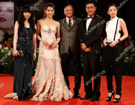 "Stephanie Che, Myolie Wu, Johnnie To, Lau Ching Wan, Denise Ho From left, Actresses Stephanie Che and Myolie Wu, director Johnnie To, actor Lau Ching Wan and actress Denise Ho arrive for the screening of the film ""Life Without Principle"" at the 68th edition of the Venice Film Festival in Venice, Italy"