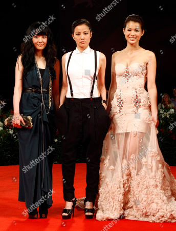 "Stephanie Che, Denise Ho, Myolie Wu From left, actresses Stephanie Che, Denise Ho and Myolie Wu arrive for the screening of the film ""Life Without Principle"" at the 68th edition of the Venice Film Festival in Venice, Italy"