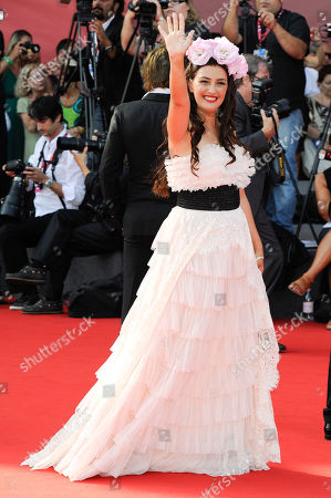 """Stock Picture of Rona Hartner Romanian actress Rona Hartner arrives for the premiere of """"Poulet Aux Prunes"""" at the 68th edition of the Venice Film Festival in Venice, Italy"""