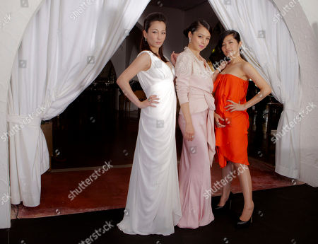 Landy Wen, Vivian Hsu, Lo Mei Ling Acresses, from left, Landy Wen, Vivian Hsu, and Lo Mei Ling pose at the 68th edition of the Venice Film Festival in Venice, Italy
