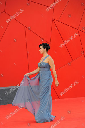 Stock Image of Tiziana Lodato Italian actress Tiziana Lodato arrives on the red carpet for the film Terraferma at the 68th edition of the Venice Film Festival in Venice, Italy