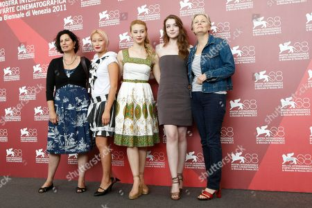 Stock Picture of Karine Martin, Valerie Tian, Sarah Gadon, Sarah Bolger, Mary Harron Novelist Rachel Klein, actress Valerie Tian, Sarah Gadon, Sarah Bolger, director Mary Harron pose for the photo call of the movie 'The Moth Diaries' at the 68th edition of the Venice Film Festival in Venice, Italy