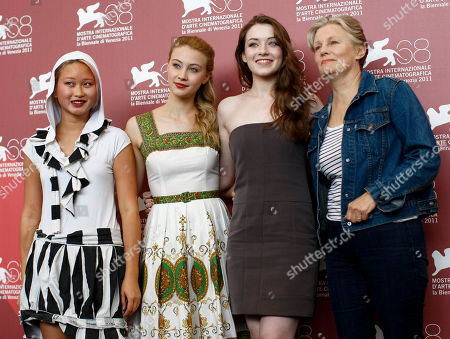 Valerie Tian, Sarah Gadon, Sarah Bolger, Mary Harron From left, actresses Valerie Tian, Sarah Gadon, and Sarah Bolger, and director Mary Harron pose for the photo call of the movie The Moth Diaries at the 68th edition of the Venice Film Festival in Venice, Italy