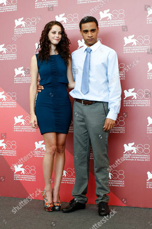 Stock Image of James Howson, Kaya Scodelario From left, actress Kaya Scodelario and actor James Howson pose during the photo call of the movie Wuthering Heights at the 68th edition of the Venice Film Festival in Venice, Italy