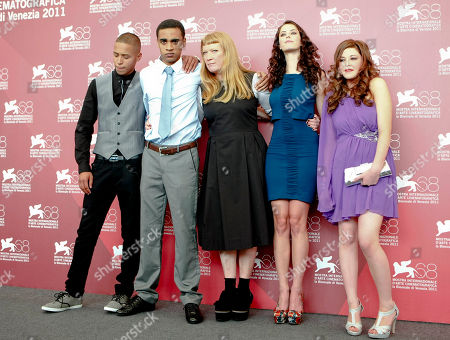 Solomon Glave, James Howson, Andrea Arnold, Kaya Scodelario, Shannon Beer From left, actors Solomon Glave and James Howson, director Andrea Arnold, and actresses Kaya Scodelario and Shannon Beer pose during the photo call of the movie Wuthering Heights at the 68th edition of the Venice Film Festival in Venice, Italy