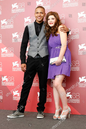 Solomon Glave, Shannon Beer From left, actors Solomon Glave and Shannon Beer pose during the photo call of the movie Wuthering Heights at the 68th edition of the Venice Film Festival in Venice, Italy