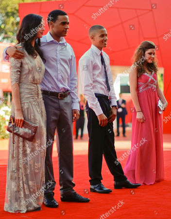 Stock Image of Kaya Scodelario, Shannon Beer, James Howson, Solomon Glave From left, actress Kaya Scodelario, actors James Howson, and Solomon Glave, and actress Shannon Beer arrive for the screening of the movie Wuthering Heights at the 68th edition of the Venice Film Festival in Venice, Italy
